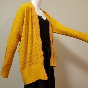Sweaters - Pure Cotton Cardigan With Chiffon Trims